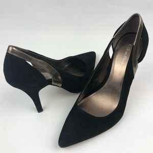 CK Point Toe Suede Black Heels Size 7